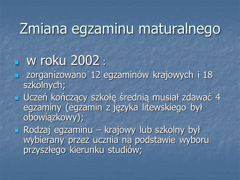 Zmiana egzaminu maturalnego w roku 2002 : w roku 2002 : zorganizowano 12 egzaminów krajowych i 18 szkolnych; zorganizowano 12 egzaminów krajowych i 18 szkolnych; Uczeń kończący szkołę średnią musiał zdawać 4 egzaminy (egzamin z języka litewskiego był obowiązkowy); Uczeń kończący szkołę średnią musiał zdawać 4 egzaminy (egzamin z języka litewskiego był obowiązkowy); Rodzaj egzaminu – krajowy lub szkolny był wybierany przez ucznia na podstawie wyboru przyszłego kierunku studiów; Rodzaj egzaminu – krajowy lub szkolny był wybierany przez ucznia na podstawie wyboru przyszłego kierunku studiów;