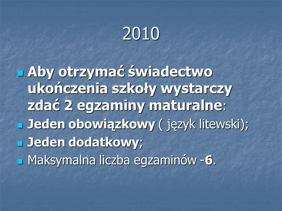 2010 Aby otrzymać świadectwo ukończenia szkoły wystarczy zdać 2 egzaminy maturalne : Aby otrzymać świadectwo ukończenia szkoły wystarczy zdać 2 egzaminy maturalne : Jeden obowiązkowy ( język litewski); Jeden obowiązkowy ( język litewski); Jeden dodatkowy; Jeden dodatkowy; Maksymalna liczba egzaminów -6.