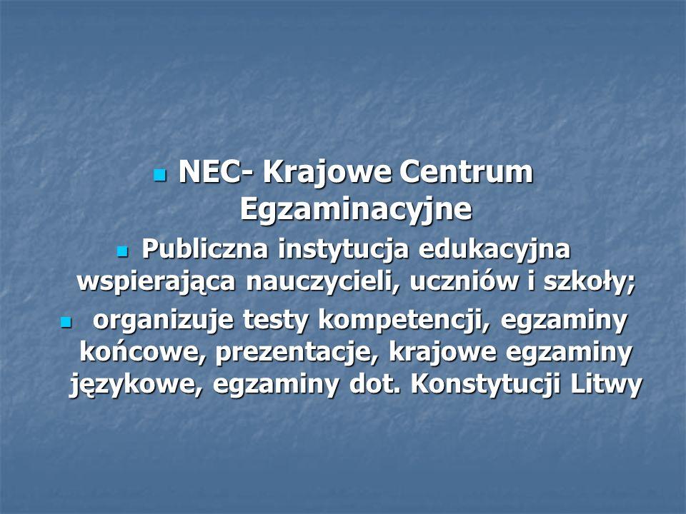 NEC- Krajowe Centrum Egzaminacyjne NEC- Krajowe Centrum Egzaminacyjne Publiczna instytucja edukacyjna wspierająca nauczycieli, uczniów i szkoły; Publiczna instytucja edukacyjna wspierająca nauczycieli, uczniów i szkoły; organizuje testy kompetencji, egzaminy końcowe, prezentacje, krajowe egzaminy językowe, egzaminy dot.