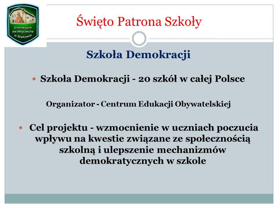 Święto Patrona Szkoły Szkoła Demokracji Szkoła Demokracji - 20 szkół w całej Polsce Organizator - Centrum Edukacji Obywatelskiej Cel projektu - wzmocnienie w uczniach poczucia wpływu na kwestie związane ze społecznością szkolną i ulepszenie mechanizmów demokratycznych w szkole