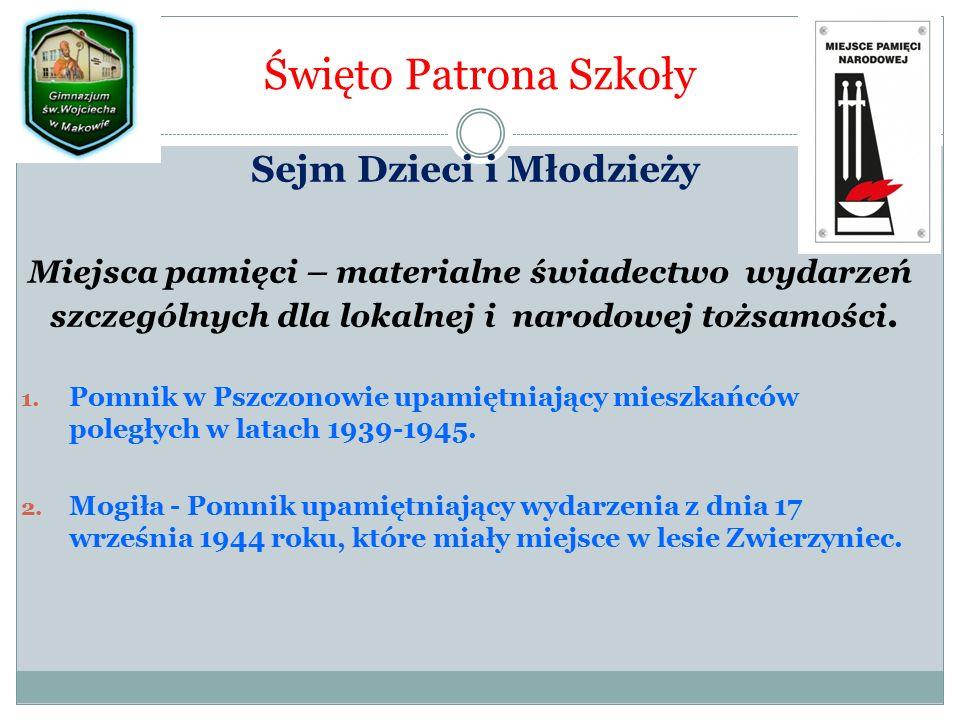 Święto Patrona Szkoły Sejm Dzieci i Młodzieży Miejsca pamięci – materialne świadectwo wydarzeń szczególnych dla lokalnej i narodowej tożsamości.