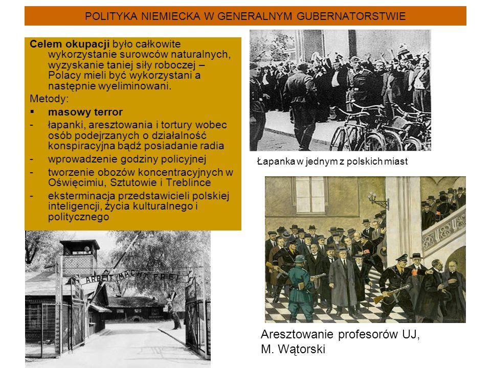 POLITYKA NIEMIECKA W GENERALNYM GUBERNATORSTWIE Celem okupacji było całkowite wykorzystanie surowców naturalnych, wyzyskanie taniej siły roboczej – Polacy mieli być wykorzystani a następnie wyeliminowani.