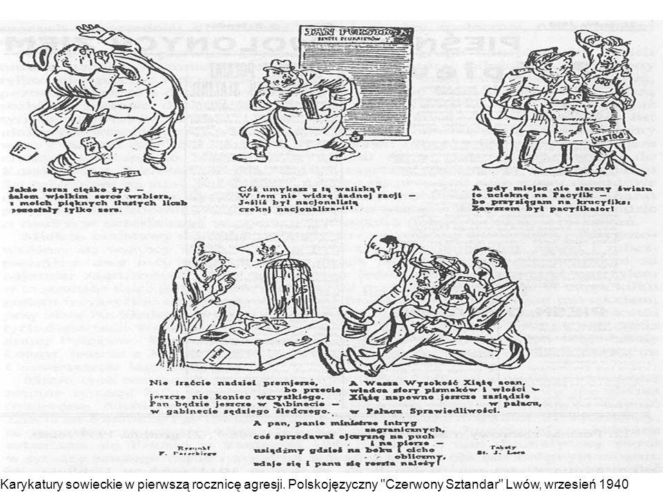 Karykatury sowieckie w pierwszą rocznicę agresji.