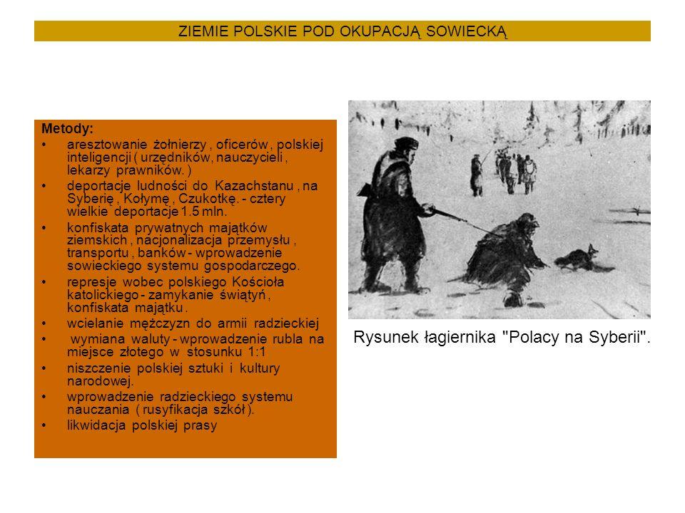 ZIEMIE POLSKIE POD OKUPACJĄ SOWIECKĄ Metody: aresztowanie żołnierzy, oficerów, polskiej inteligencji ( urzędników, nauczycieli, lekarzy prawników.