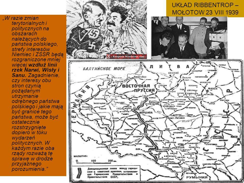 """UKŁAD RIBBENTROP – MOŁOTOW 23 VIII 1939 """"W razie zmian terytorialnych i politycznych na obszarach należących do państwa polskiego, strefy interesów Niemiec i ZSSR będą rozgraniczone mniej więcej wzdłuż linii rzek Narwi, Wisły i Sanu."""