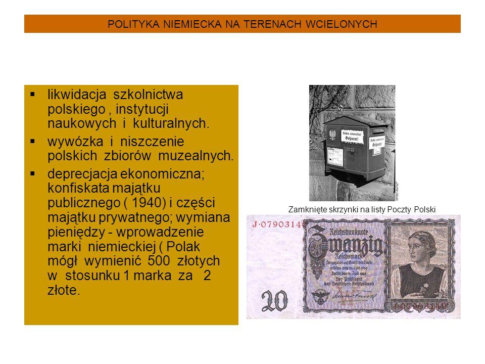 POLITYKA NIEMIECKA NA TERENACH WCIELONYCH  likwidacja szkolnictwa polskiego, instytucji naukowych i kulturalnych.