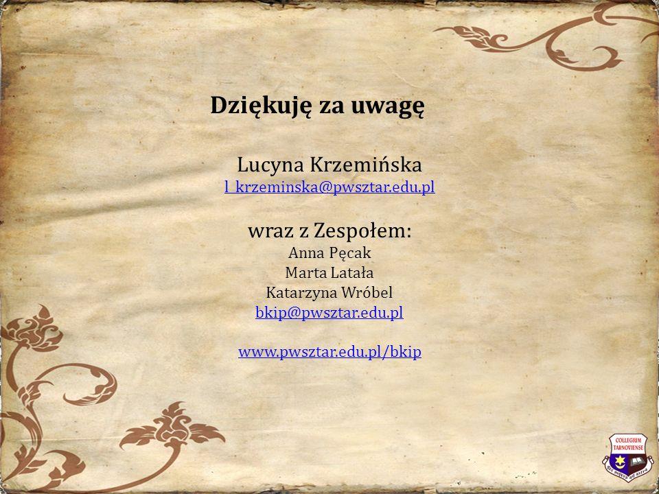 Dziękuję za uwagę Lucyna Krzemińska l_krzeminska@pwsztar.edu.pl wraz z Zespołem: Anna Pęcak Marta Latała Katarzyna Wróbel bkip@pwsztar.edu.pl www.pwsztar.edu.pl/bkip
