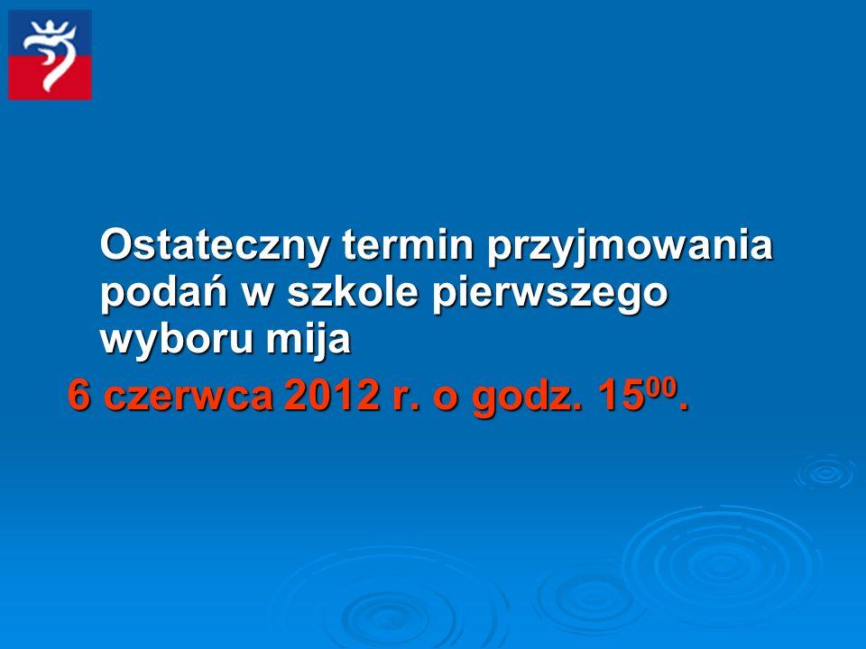 Ostateczny termin przyjmowania podań w szkole pierwszego wyboru mija 6 czerwca 2012 r.