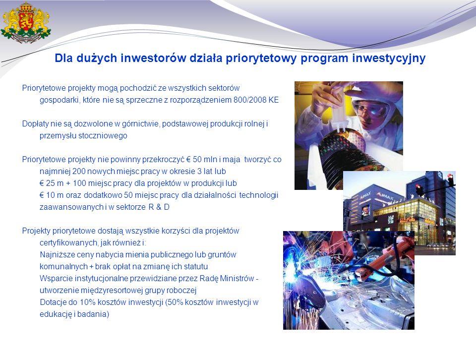 Dla dużych inwestorów działa priorytetowy program inwestycyjny Priorytetowe projekty mogą pochodzić ze wszystkich sektorów gospodarki, które nie są sprzeczne z rozporządzeniem 800/2008 KE Dopłaty nie są dozwolone w górnictwie, podstawowej produkcji rolnej i przemysłu stoczniowego Priorytetowe projekty nie powinny przekroczyć € 50 mln i maja tworzyć co najmniej 200 nowych miejsc pracy w okresie 3 lat lub € 25 m + 100 miejsc pracy dla projektów w produkcji lub € 10 m oraz dodatkowo 50 miejsc pracy dla działalności technologii zaawansowanych i w sektorze R & D Projekty priorytetowe dostają wszystkie korzyści dla projektów certyfikowanych, jak również i: Najniższe ceny nabycia mienia publicznego lub gruntów komunalnych + brak opłat na zmianę ich statutu Wsparcie instytucjonalne przewidziane przez Radę Ministrów - utworzenie międzyresortowej grupy roboczej Dotacje do 10% kosztów inwestycji (50% kosztów inwestycji w edukację i badania)