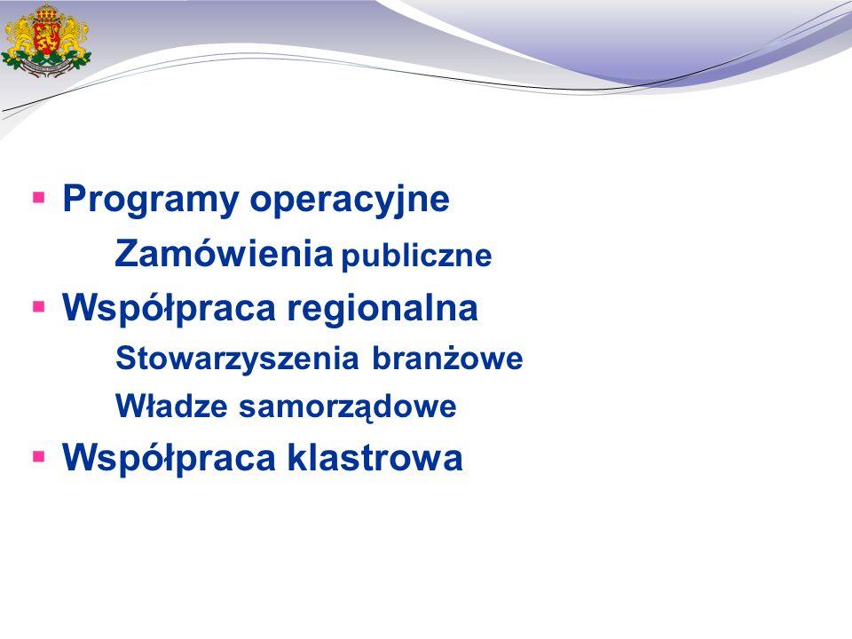  Programy operacyjne Zamówienia publiczne  Współpraca regionalna Stowarzyszenia branżowe Władze samorządowe  Współpraca klastrowa
