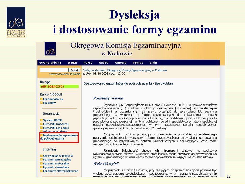 12 Dysleksja i dostosowanie formy egzaminu