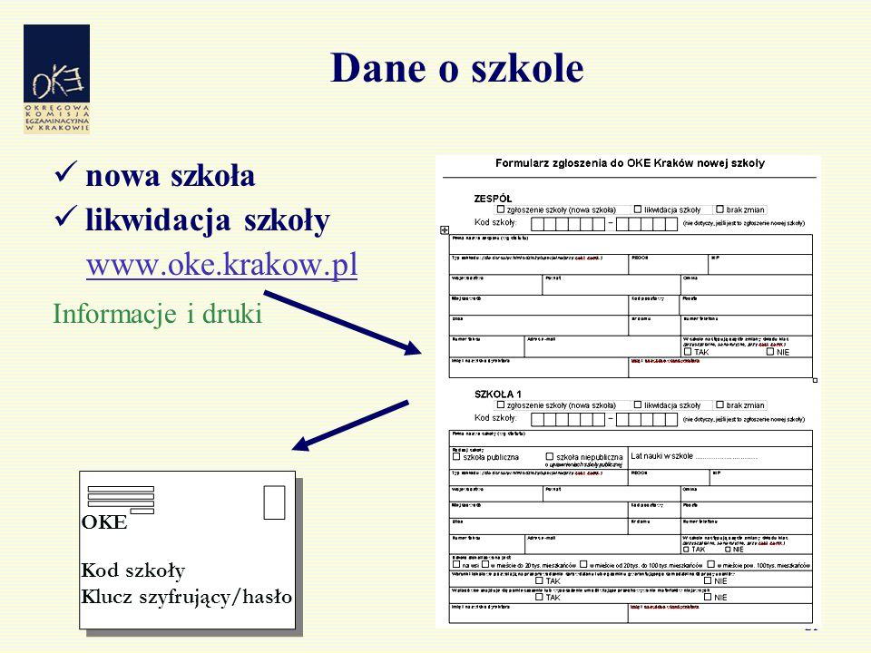 21 Dane o szkole nowa szkoła likwidacja szkoły www.oke.krakow.pl Informacje i druki Kod szkoły Klucz szyfrujący/hasło OKE