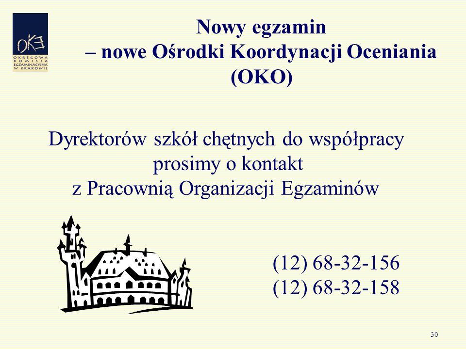30 Nowy egzamin – nowe Ośrodki Koordynacji Oceniania (OKO) Dyrektorów szkół chętnych do współpracy prosimy o kontakt z Pracownią Organizacji Egzaminów (12) 68-32-156 (12) 68-32-158