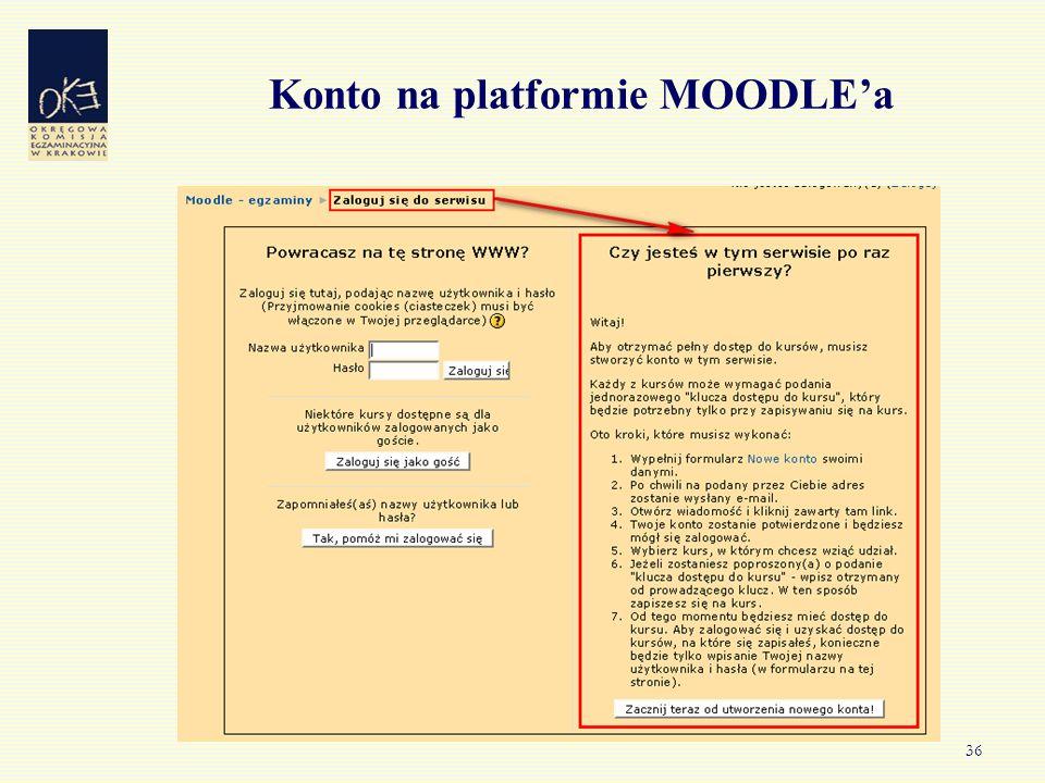 36 Konto na platformie MOODLE'a
