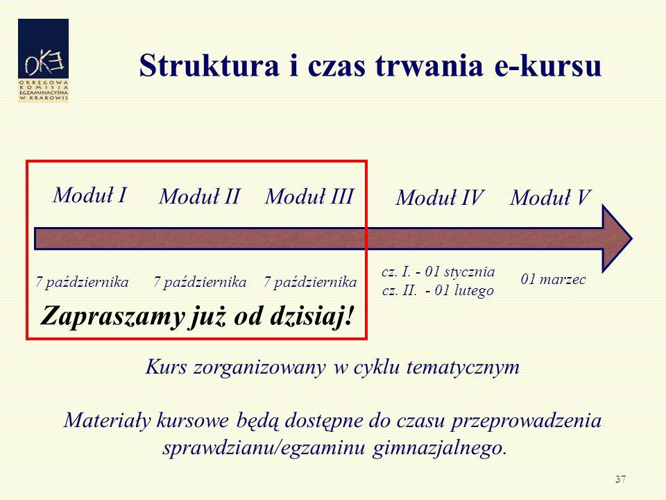 37 Struktura i czas trwania e-kursu Moduł I Moduł IIModuł III Moduł IVModuł V 7 października 01 marzec 7 października cz. I. - 01 stycznia cz. II. - 0