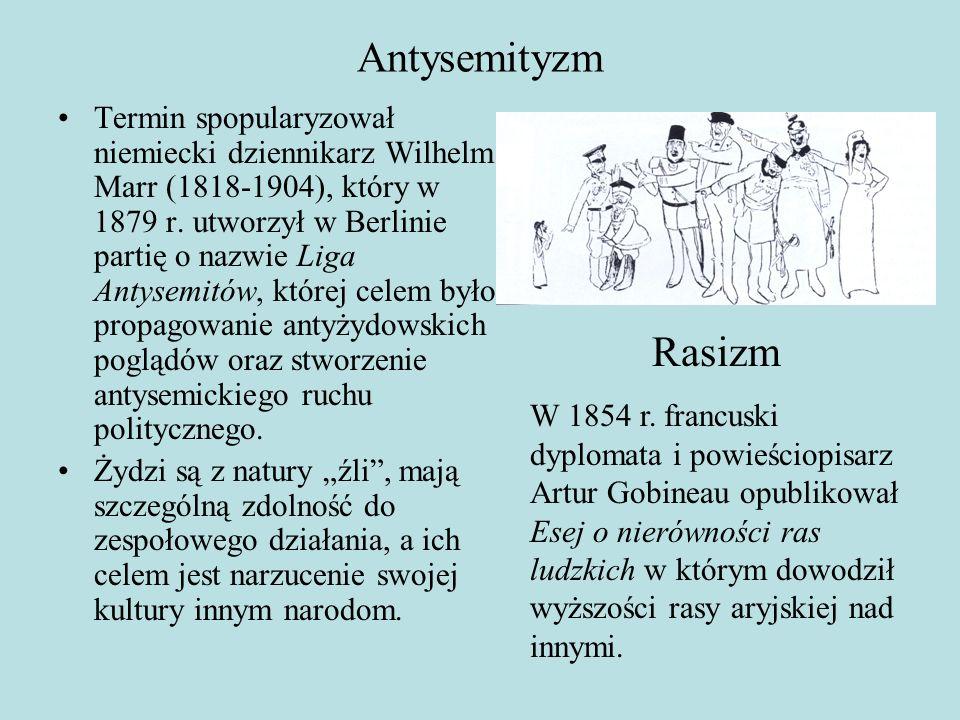 Antysemityzm Termin spopularyzował niemiecki dziennikarz Wilhelm Marr (1818-1904), który w 1879 r.