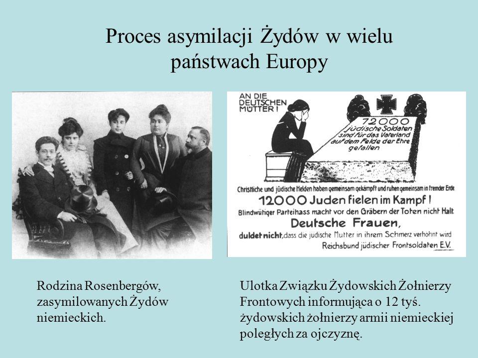 Proces asymilacji Żydów w wielu państwach Europy Rodzina Rosenbergów, zasymilowanych Żydów niemieckich.