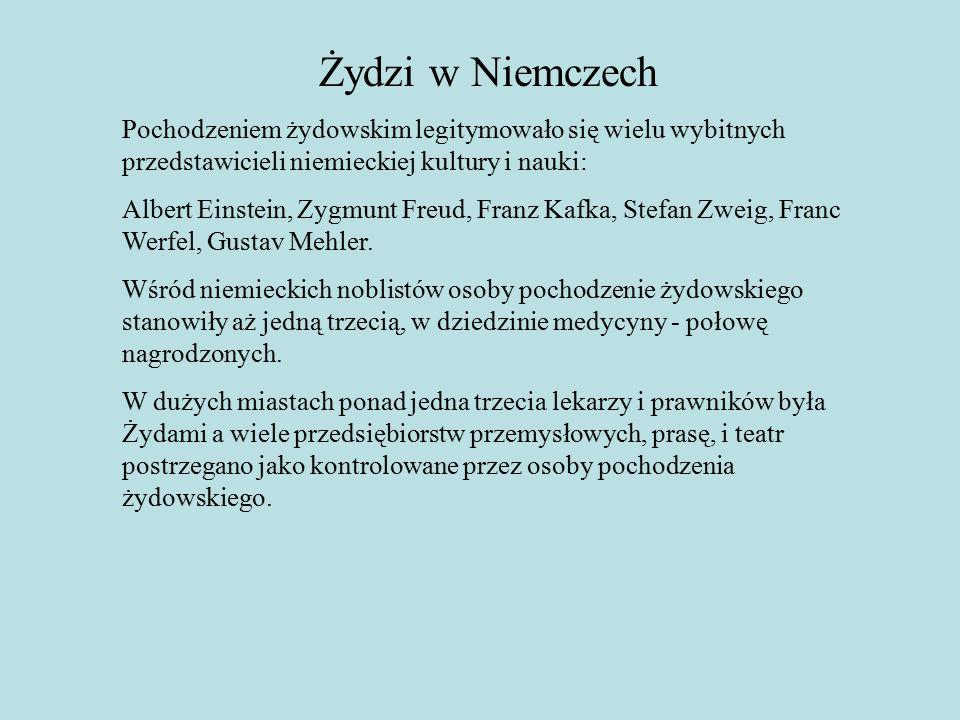 Żydzi w Niemczech Pochodzeniem żydowskim legitymowało się wielu wybitnych przedstawicieli niemieckiej kultury i nauki: Albert Einstein, Zygmunt Freud, Franz Kafka, Stefan Zweig, Franc Werfel, Gustav Mehler.