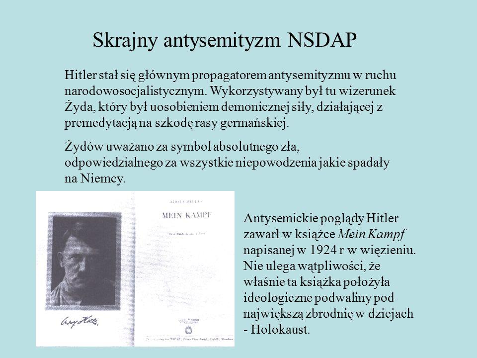 Skrajny antysemityzm NSDAP Hitler stał się głównym propagatorem antysemityzmu w ruchu narodowosocjalistycznym.