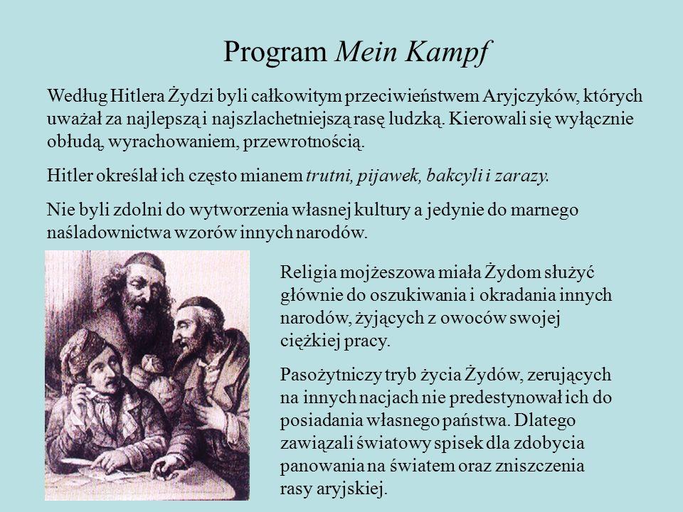Program Mein Kampf Według Hitlera Żydzi byli całkowitym przeciwieństwem Aryjczyków, których uważał za najlepszą i najszlachetniejszą rasę ludzką.