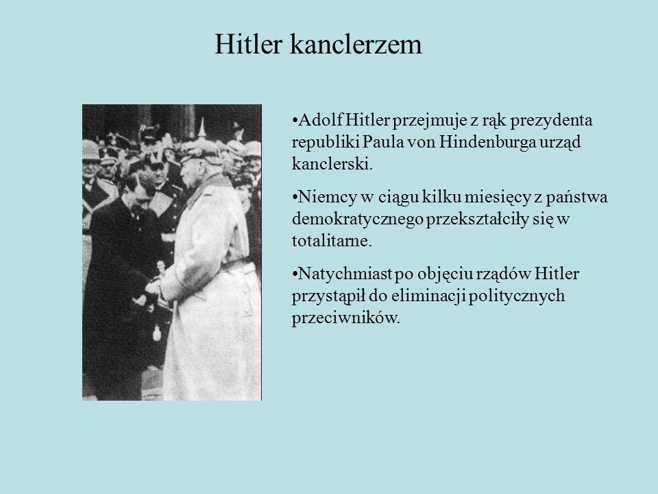 Hitler kanclerzem Adolf Hitler przejmuje z rąk prezydenta republiki Paula von Hindenburga urząd kanclerski.