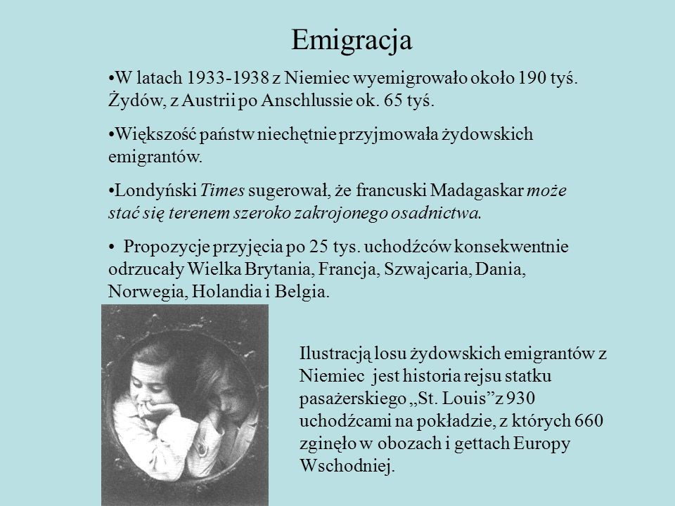Emigracja W latach 1933-1938 z Niemiec wyemigrowało około 190 tyś.