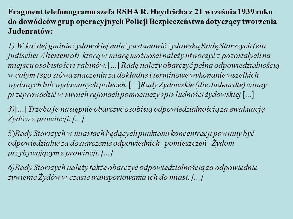 Fragment telefonogramu szefa RSHA R.