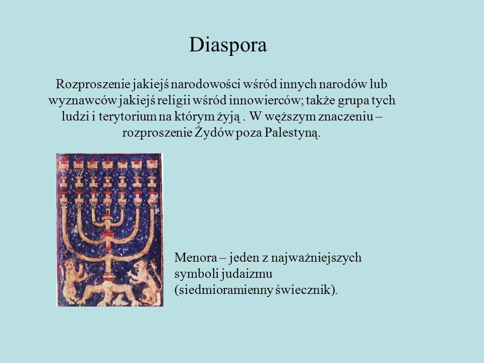 Diaspora Rozproszenie jakiejś narodowości wśród innych narodów lub wyznawców jakiejś religii wśród innowierców; także grupa tych ludzi i terytorium na którym żyją.