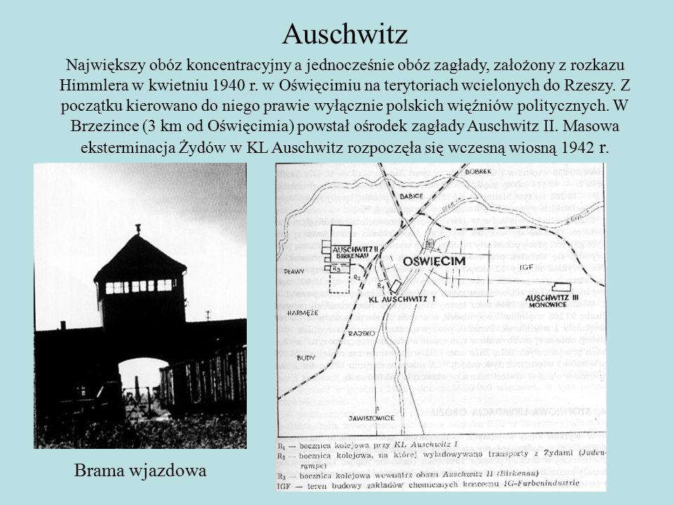 Auschwitz Największy obóz koncentracyjny a jednocześnie obóz zagłady, założony z rozkazu Himmlera w kwietniu 1940 r.