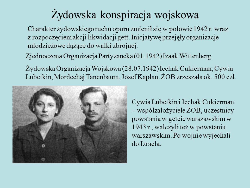 Żydowska konspiracja wojskowa Zjednoczona Organizacja Partyzancka (01.1942) Izaak Wittenberg Żydowska Organizacja Wojskowa (28.07.1942) Icchak Cukierman, Cywia Lubetkin, Mordechaj Tanenbaum, Josef Kapłan.