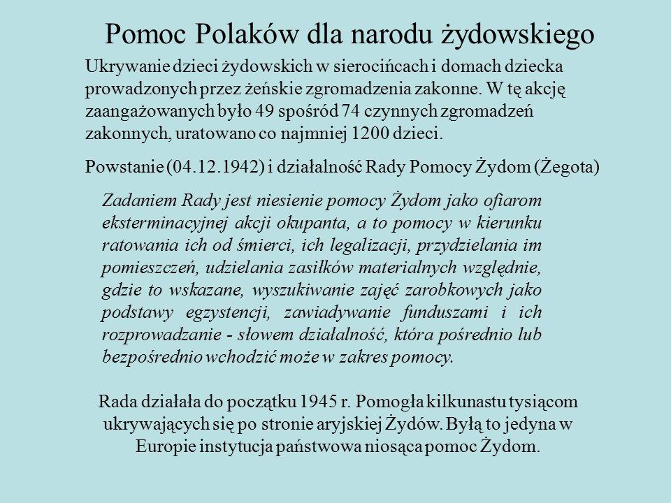 Pomoc Polaków dla narodu żydowskiego Ukrywanie dzieci żydowskich w sierocińcach i domach dziecka prowadzonych przez żeńskie zgromadzenia zakonne.