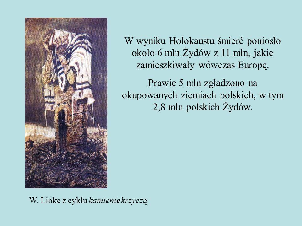 W wyniku Holokaustu śmierć poniosło około 6 mln Żydów z 11 mln, jakie zamieszkiwały wówczas Europę.