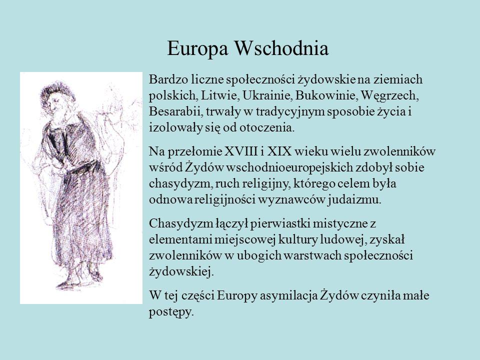 Europa Wschodnia Bardzo liczne społeczności żydowskie na ziemiach polskich, Litwie, Ukrainie, Bukowinie, Węgrzech, Besarabii, trwały w tradycyjnym sposobie życia i izolowały się od otoczenia.