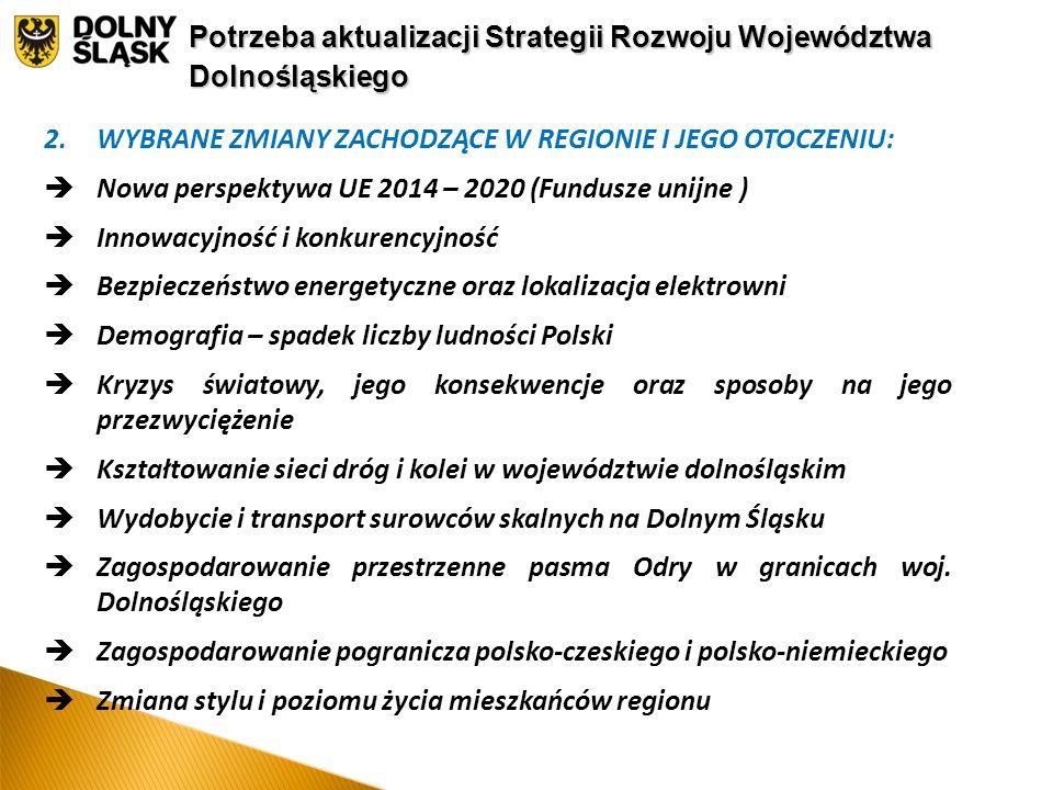 2.WYBRANE ZMIANY ZACHODZĄCE W REGIONIE I JEGO OTOCZENIU:  Nowa perspektywa UE 2014 – 2020 (Fundusze unijne )  Innowacyjność i konkurencyjność  Bezpieczeństwo energetyczne oraz lokalizacja elektrowni  Demografia – spadek liczby ludności Polski  Kryzys światowy, jego konsekwencje oraz sposoby na jego przezwyciężenie  Kształtowanie sieci dróg i kolei w województwie dolnośląskim  Wydobycie i transport surowców skalnych na Dolnym Śląsku  Zagospodarowanie przestrzenne pasma Odry w granicach woj.