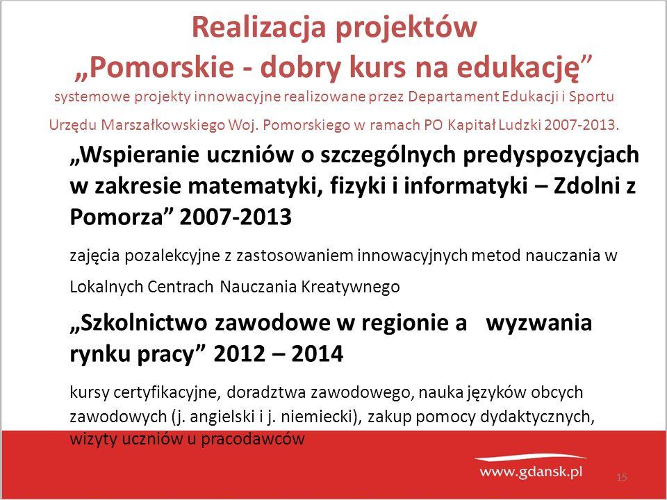 """15 Realizacja projektów """"Pomorskie - dobry kurs na edukację"""" systemowe projekty innowacyjne realizowane przez Departament Edukacji i Sportu Urzędu Mar"""