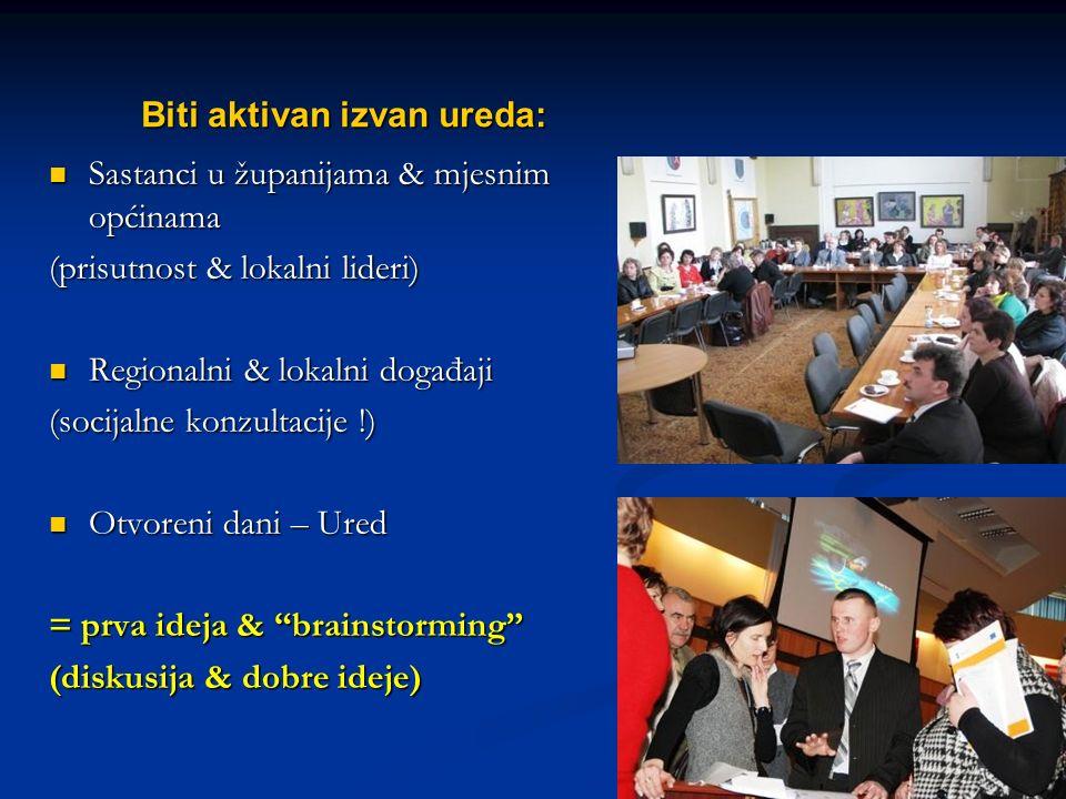 Name of your presentation Biti aktivan izvan ureda: Sastanci u županijama & mjesnim općinama Sastanci u županijama & mjesnim općinama (prisutnost & lo