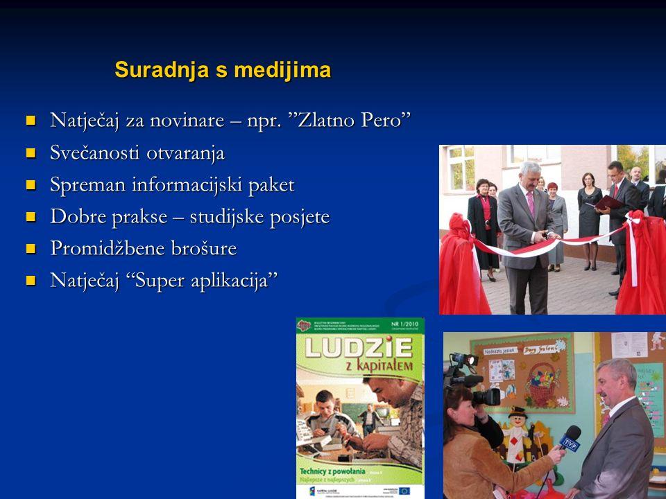 "Name of your presentation Suradnja s medijima Natječaj za novinare – npr. ""Zlatno Pero"" Natječaj za novinare – npr. ""Zlatno Pero"" Svečanosti otvaranja"