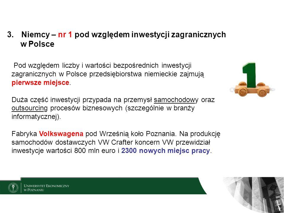 3.Niemcy – nr 1 pod względem inwestycji zagranicznych w Polsce Pod względem liczby i wartości bezpośrednich inwestycji zagranicznych w Polsce przedsiębiorstwa niemieckie zajmują pierwsze miejsce.