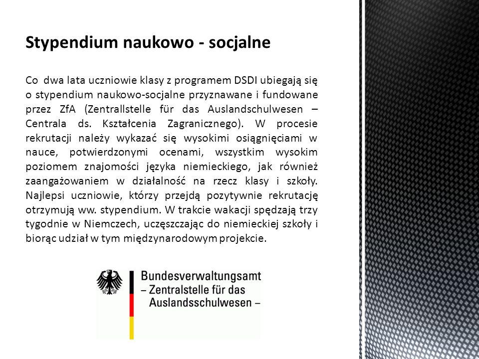 Co dwa lata uczniowie klasy z programem DSDI ubiegają się o stypendium naukowo-socjalne przyznawane i fundowane przez ZfA (Zentrallstelle für das Auslandschulwesen – Centrala ds.