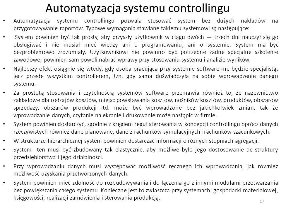 Automatyzacja systemu controllingu Automatyzacja systemu controllingu pozwala stosować system bez dużych nakładów na przygotowywanie raportów. Typowe