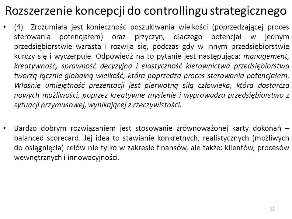 Rozszerzenie koncepcji do controllingu strategicznego (4) Zrozumiała jest konieczność poszukiwania wielkości (poprzedzającej proces sterowania potencjałem) oraz przyczyn, dlaczego potencjał w jednym przedsiębiorstwie wzrasta i rozwija się, podczas gdy w innym przedsiębiorstwie kurczy się i wyczerpuje.