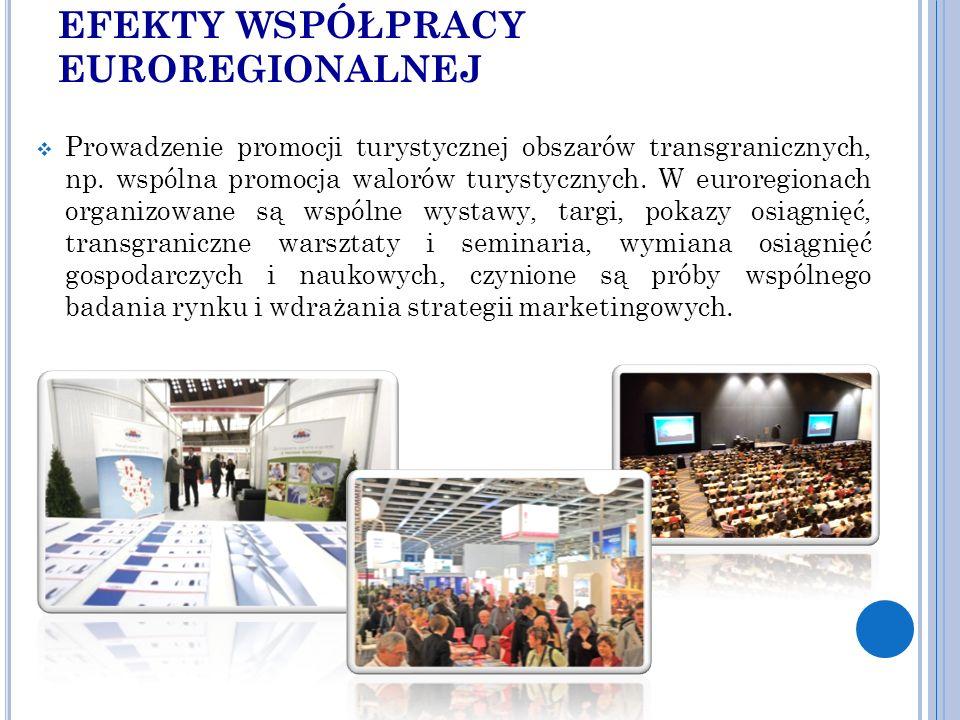 EFEKTY WSPÓŁPRACY EUROREGIONALNEJ  Prowadzenie promocji turystycznej obszarów transgranicznych, np.