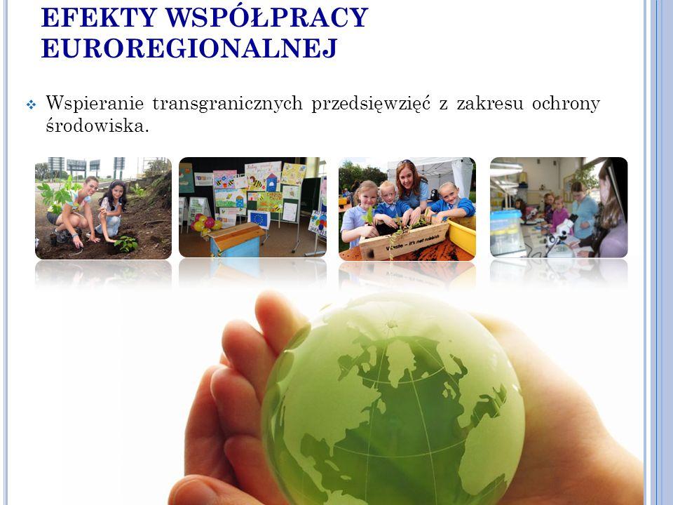 EFEKTY WSPÓŁPRACY EUROREGIONALNEJ  Wspieranie transgranicznych przedsięwzięć z zakresu ochrony środowiska.