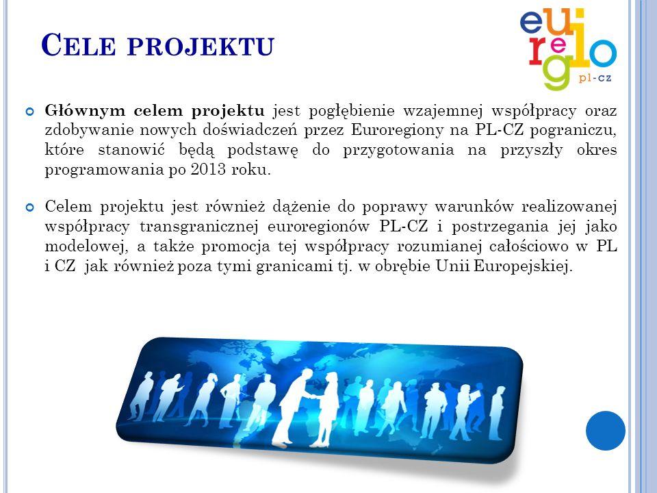 C ELE PROJEKTU Głównym celem projektu jest pogłębienie wzajemnej współpracy oraz zdobywanie nowych doświadczeń przez Euroregiony na PL-CZ pograniczu, które stanowić będą podstawę do przygotowania na przyszły okres programowania po 2013 roku.