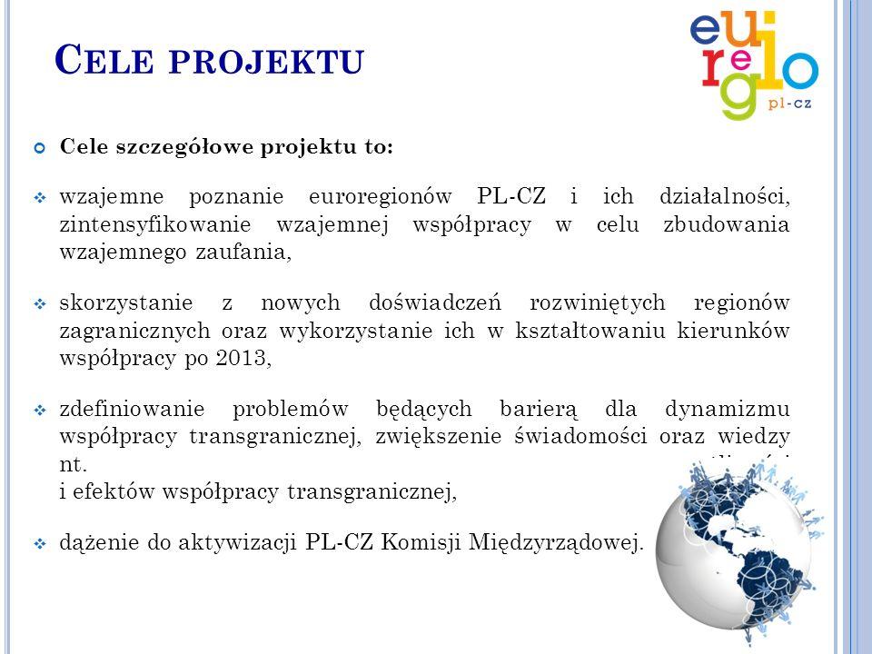 C ELE PROJEKTU Cele szczegółowe projektu to:  wzajemne poznanie euroregionów PL-CZ i ich działalności, zintensyfikowanie wzajemnej współpracy w celu zbudowania wzajemnego zaufania,  skorzystanie z nowych doświadczeń rozwiniętych regionów zagranicznych oraz wykorzystanie ich w kształtowaniu kierunków współpracy po 2013,  zdefiniowanie problemów będących barierą dla dynamizmu współpracy transgranicznej, zwiększenie świadomości oraz wiedzy nt.