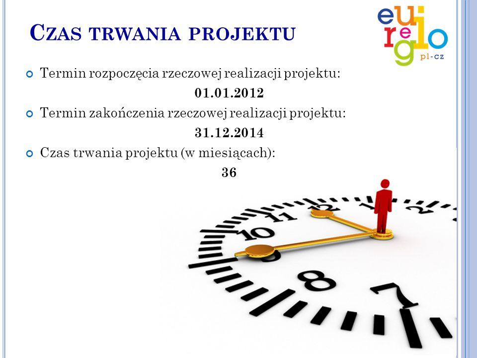 C ZAS TRWANIA PROJEKTU Termin rozpoczęcia rzeczowej realizacji projektu: 01.01.2012 Termin zakończenia rzeczowej realizacji projektu: 31.12.2014 Czas trwania projektu (w miesiącach): 36
