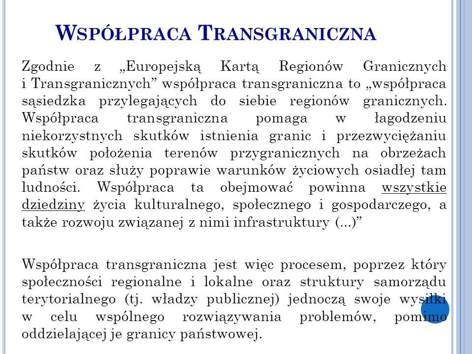 """W SPÓŁPRACA T RANSGRANICZNA Zgodnie z """"Europejską Kartą Regionów Granicznych i Transgranicznych współpraca transgraniczna to """"współpraca sąsiedzka przylegających do siebie regionów granicznych."""