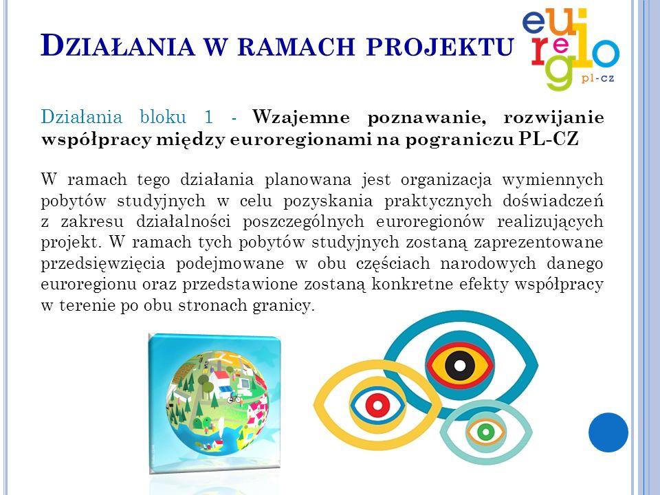D ZIAŁANIA W RAMACH PROJEKTU Działania bloku 1 - Wzajemne poznawanie, rozwijanie współpracy między euroregionami na pograniczu PL-CZ W ramach tego działania planowana jest organizacja wymiennych pobytów studyjnych w celu pozyskania praktycznych doświadczeń z zakresu działalności poszczególnych euroregionów realizujących projekt.