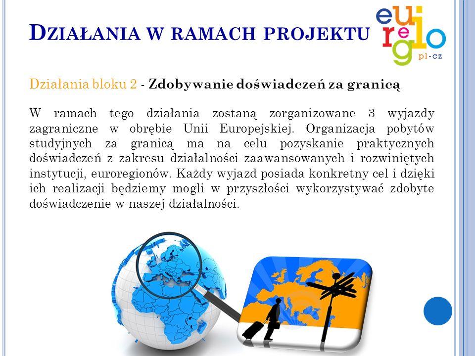 D ZIAŁANIA W RAMACH PROJEKTU Działania bloku 2 - Zdobywanie doświadczeń za granicą W ramach tego działania zostaną zorganizowane 3 wyjazdy zagraniczne w obrębie Unii Europejskiej.