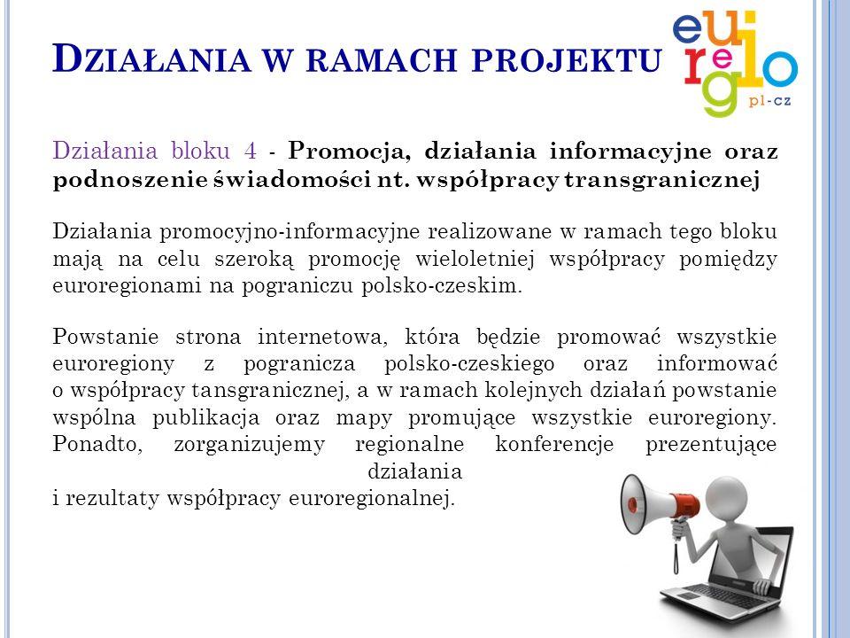D ZIAŁANIA W RAMACH PROJEKTU Działania bloku 4 - Promocja, działania informacyjne oraz podnoszenie świadomości nt.
